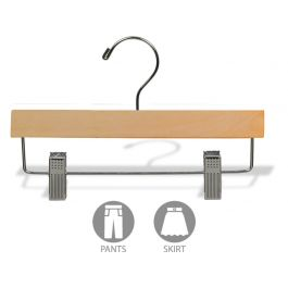 Matte Natural Wood Pant Hanger With Clips 11 For Sale