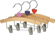"10"" Natural Wood Combo Hanger W/ Clips & Notches"