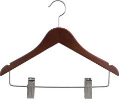 "14"" Walnut Wood Combo Hanger W/ Clips & Notches"