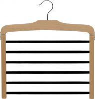 "16"" Natural Wood 6 Tier Pant Hanger W/Flocked Bars"