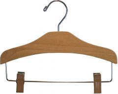 """11"""" Matte Natural Alder Combo Hanger W/ Clips"""