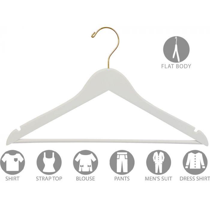 """17"""" White Wood Suit Hanger W/ Suit Bar & Notches"""