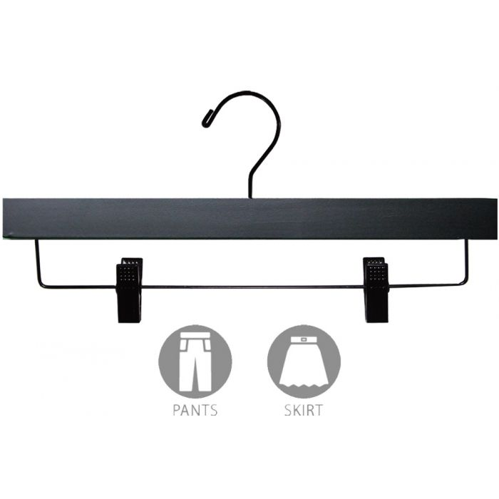 "14"" Matte Black Wood Bottom Hanger W/ Clips"