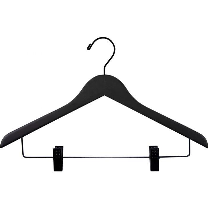 "17"" Matte Black Wood Top Hanger W Clips"
