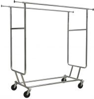 Chrome Metal Collapsible Double Bar Garment Rack