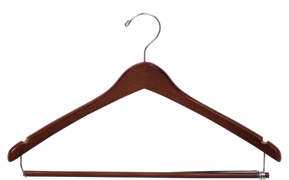 Walnut Suit Hanger with Chrome Hook
