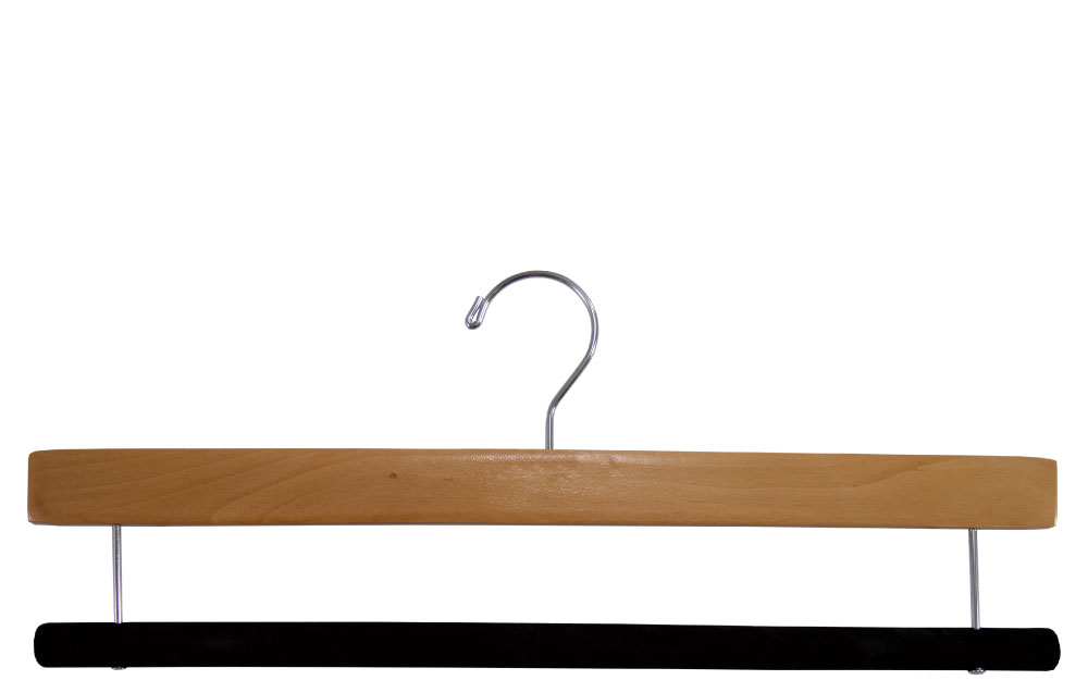 Wood Pant Hanger with Flocked Bar