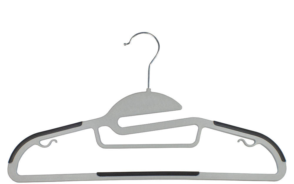 Gray Plastic Hanger with Notches